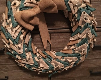 Teal, White Lace, and Grey Chevron Burlap Wreath