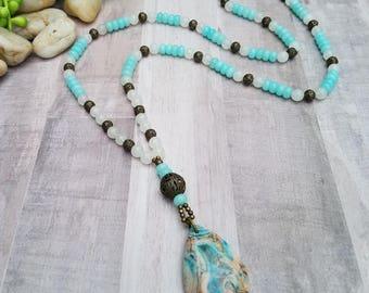 Aquamarine Gemstone Long Boho Necklace with Multicolored Stone Pendant. March Birthstone. Elegant. Beaded. Unique. Statement  #447