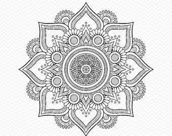 Hand made mandala flower, cricut design, silhouette studio, svg files mandala flower for instant download, svg, png, dxf, eps, flower svg