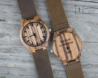 Personalized Mens Watch, Engraved Mens Wood Watch, Father's Day Gift, Engraved Wood Watch, Personalized Wooden Watch, Mens Wooden Watch