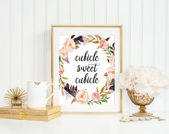 """Cubicle sweet cubicle, Office decor, 8x10"""" Office print, Cubicle wall art, Office wall art, watercolor floral wreath print, new job gift"""
