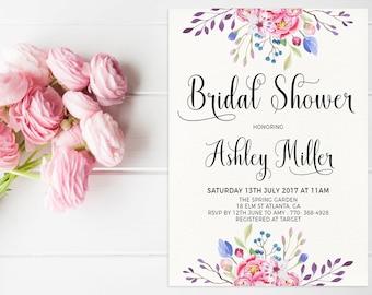 Floral Bridal Shower Invitation Printable, Watercolor Floral Invite, Shabby Chic Bridal Shower Invite Printable, Shower Invitation Template