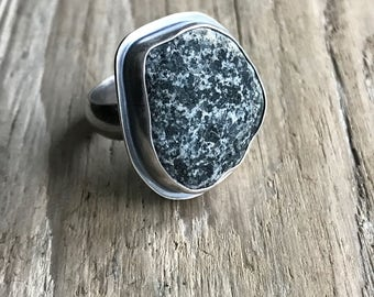 Oxidized silver beach stone ring