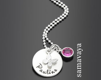 Children necklace with engraving SPRINGTIME 925 Silver Chain children jewelry Butterfly