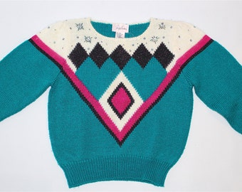 SALE*Vintage Women's Clothing • 1980's Knit Sweater • Bright Teal and Fuchsia • Bedazzled with Shoulder Pads • Knit Sparkle Sweater