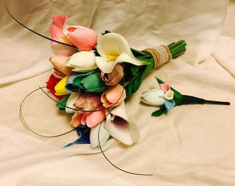 Spring colors tulips and calla lilies bridal wedding bouquet and groom's boutonniere set