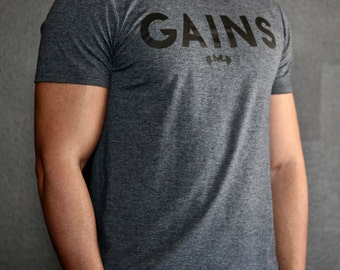 Charcoal Gains Gym Tee - Modern Jock Logo Tee - Gym Shirt - Fitted Sleeves - Perfect Fitting Gym Shirt - Gym t-shirt by Modern Jock