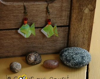 Origami (fish) - P007 earrings