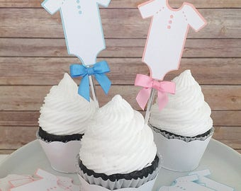 Gender Reveal Cupcake Toppers, Baby Shower Cupcake Picks, Maternity Party Decor, Dozen