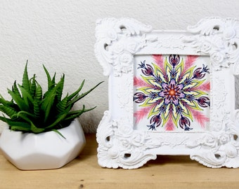 Ornate Frame Floral Art Print // 4x4 // Vintage Style Frame // Mandala // Small