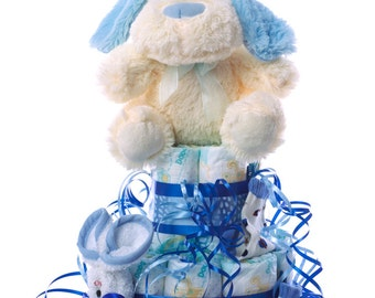 DODOT diaper cake. An original gift for the newborn baby, including Teddy, socks and face towel.