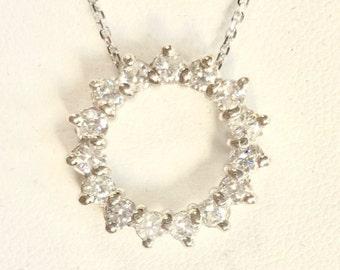 Diamond Circle Slide Pendant and Chain