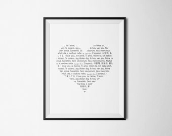 I Love You - in 20 Languages / Printable Wall Art, Digital Download, Love, Valentine's Day, Gift, Home Decor, Heart, Artwork, Prints.