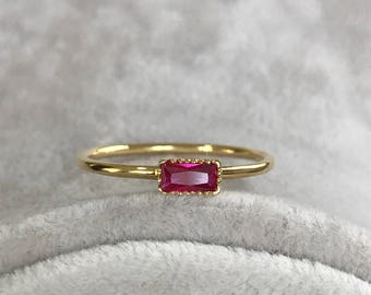 Ruby Birthstone Ring, Yellow Gold Ring, Wedding Ring, Engagement Ring, Rings, Promise Ring, Anniversary Ring, Stackable Ring, Bridal Ring
