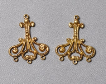 Pair Antique Style French Ornate 3 to 1 Connectors 3 Strand Necklace or Earring Findings Raw Brass Flat Back 2 Pieces 338J