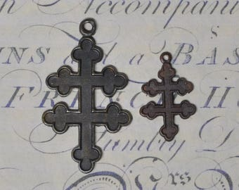 Vintage French Cross of Lorraine For Enameling Flat Back Die Cast Raw Brass 1 Piece 402J 507J