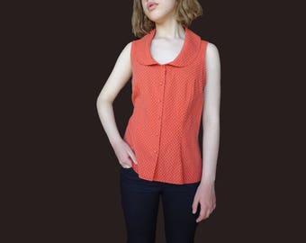 Vintage pinup blouse, pasel orange top, sleeveless pinup top, round collar neck top, collar pinup top, orange polkadot pinup top S M