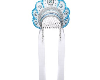 "Russian Traditional Folk Costume - Headdress Kokoshnik ""Elena"" white #408"
