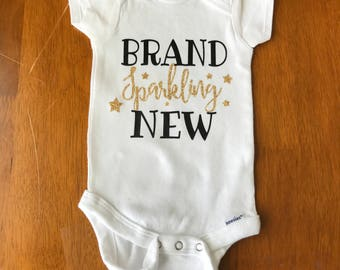 Brand Sparkling New, New Baby, Brand Sparkling New iron on, Brand Sparkling New decal, New baby iron on, New baby decal, Glitter decal