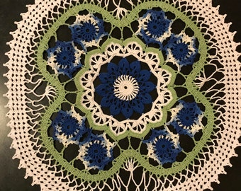 Blue Focus on Flowers Doily