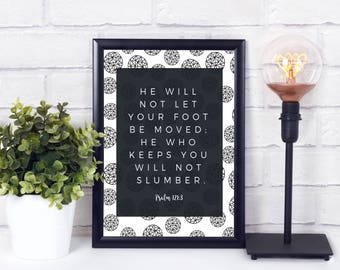 He Who Keeps You Will Not Slumber- Psalm 121:3 Geometric Typography Art Print (Digital, Printable)