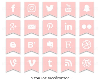 Set of 20 icons for Blog or website - social networking icons - 3 sizes