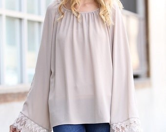 Lace detail long sleeve blouse