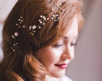 White opal hair vine Something old Long simple hair vine Vintage moonstone bridal vine Babys breath dainty headpiece Wedding minimal