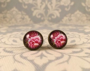 Pretty Vintage Floral Pink Peony Earrings  Antique  Gold Setting