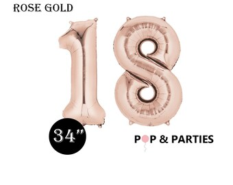 SHIPS FAST - Giant Rose Gold Number 18 Balloons, Rose Gold Balloons, 18th Birthday Balloons, Giant Number Balloons, Big Number Balloons