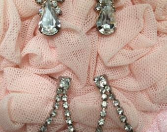 Diamond Rhinestone Vintage Look Pierced Earrings