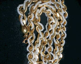 Trifari gold chain and pearl strand intertwined vintage necklace