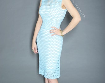 "Crochet Lace Summer Dress 'Laguna"" Instant download PDF crochet pattern detailed tutorial, written pattern, schematical, handmade gown"