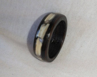 Walnut and shell bent wood ring