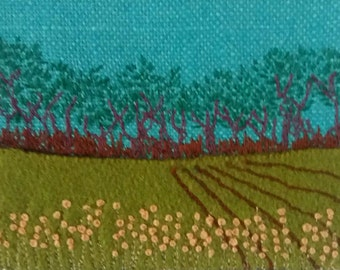 Let's Go! Embroidered landscape artwork on wool and linen