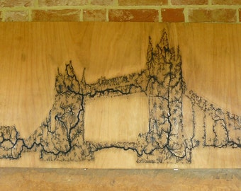 SPRING SALE - 25% OFF - Lichtenberg Art London Tower Bridge, Pyrography, Fractal Artwork