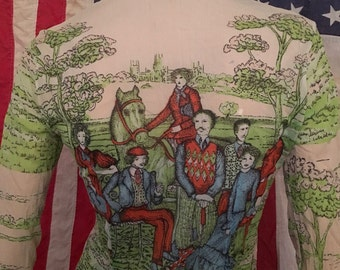 Womens 70's Vintage Nylon Picture Shirt Grassy Hills and Edwardian Family W/ Horses