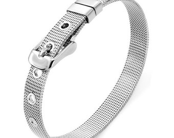 Slide Charm Letters Bracelet 8mm Stainless Steel Mesh Adjustable Wristband Bracelet With Buckle Alphabet Slide Charm Letter Bracelet