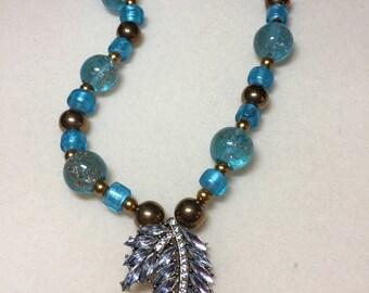 Gorgeous aqua lampwork glass necklace