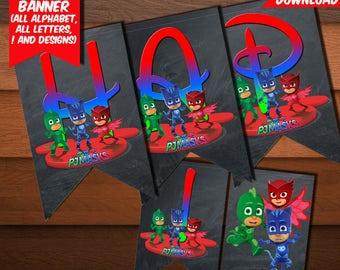 PJ Masks Banner-Digital Birthday Pj Masks Banner-Pj Masks Party Decoration-Pj Masks Printables Banner-Pj Masks Party-DIGITAL Download