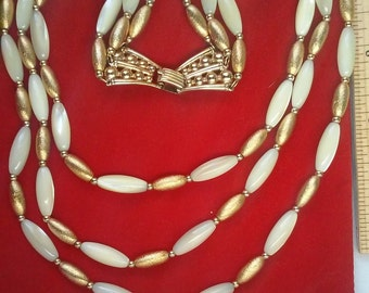 Napier 3 strand gold and mother of pearl necklace