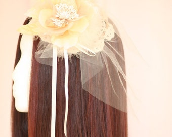 White and Cream Flower Victorian Steampunk Fascinator - Made To Order