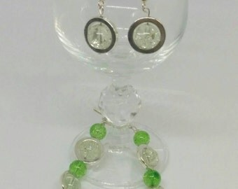 Handmade Stylish Green and Silver Beaded Bracelet with Dangle Earrings to Match Jewelry Set