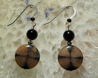 Chiastolite Black Onyx dangle earrings