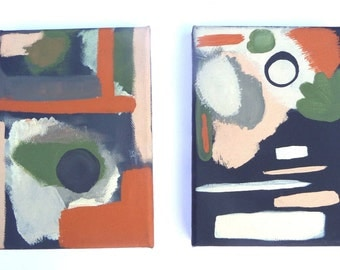 Hand Painted Abstract Art Set of 2 on Black Canvas