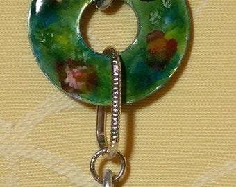 Chiara - pendant handpainted metal discs and silver wire