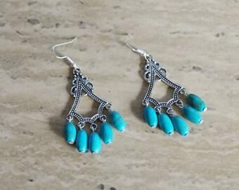 Turquoise Chandelier Earrings, Women's Earrings, Blue Earrings