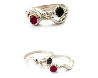 Twin Rings, Ruby Ring, Dainty Ruby & Diamond Ring, 18K Solid Gold Ring, Matching Rings, Gold Matching Rings, Double Stone Ring, Forever Ring