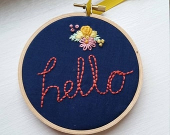 Hello Floral Embroidery Hoop, Navy and Coral