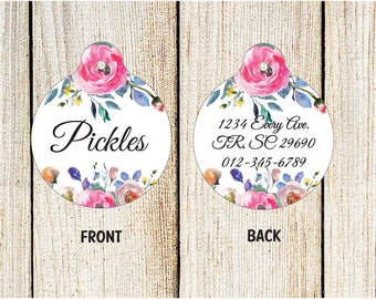 Floral Pet Tag - Custom Pet ID Tag - Circle ID tag - Double Sided Tag - Personalized Pet Tag